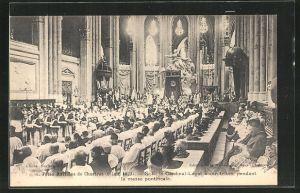 AK Chartres, Fetes Mariales, S. E. le Cardinal-Legat a son trone, pendant la messe pontificale 1927