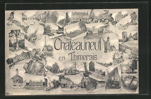 AK Chateauneuf en Thimerais, Strassenpartien mit Gebäudeansichten 0