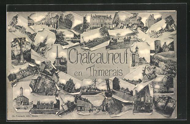 AK Chateauneuf en Thimerais, Strassenpartien mit Gebäudeansichten