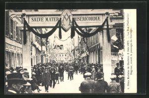 AK Chartres, Fetes Mariales 1927, La Rue Mathurin-Regnier, avant le passage du Cortege
