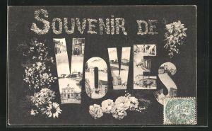 AK Voves, Teilansichten und Blumen