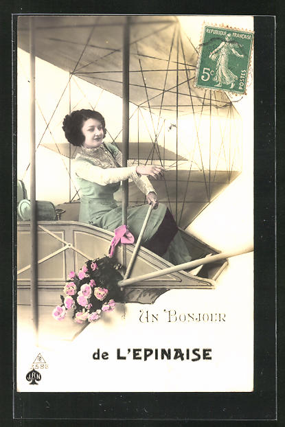 AK L`Epinaise, Schöne Frau im Doppeldecker-Flugzeug 0