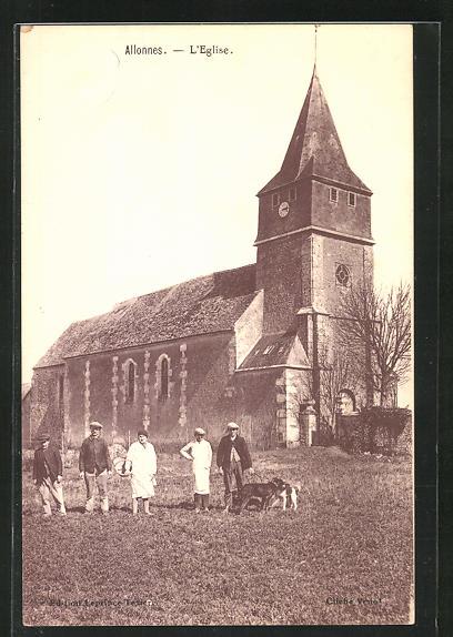 AK Allonnes, L`Eglise, Einwohner an der Kirche 0