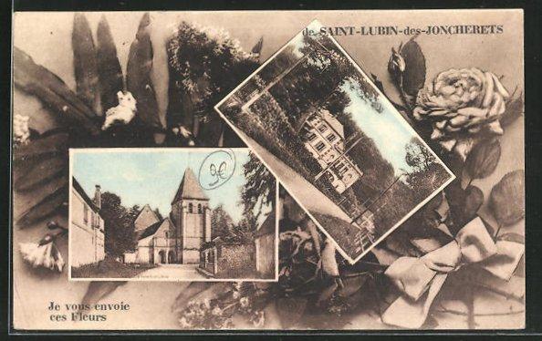 AK Saint-Lubin-des-Joncherets, Villa und Kirche 0