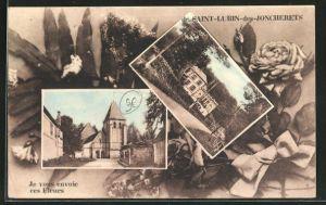 AK Saint-Lubin-des-Joncherets, Villa und Kirche