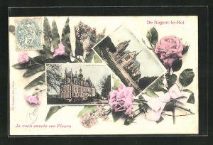 AK Nogent-le-Roi, Le Chateau, l`eglise, Fleurs