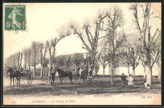 AK Auneau, Einspäner auf dem Camp de Foire 0