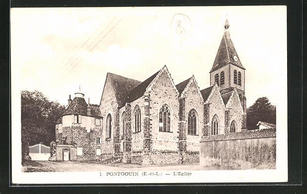 AK Pontgouin, Blick auf die Kirche