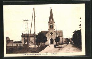 AK Orgeres-en-Beauce, Ortspartie mit Kirche