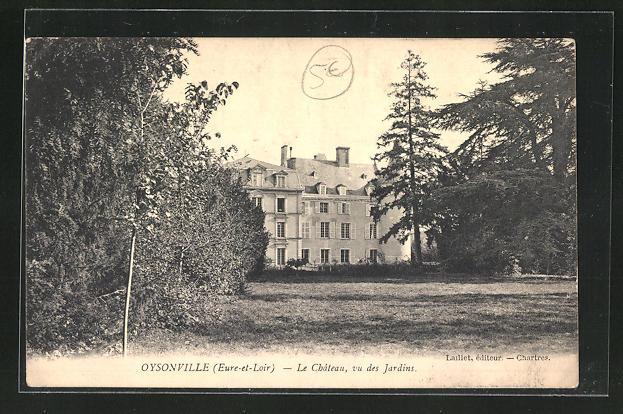 AK Oysonville, Le chateau, vu des Jardins