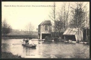 AK Cloyes, Un coin sur le Loir, Vue vers le Chateau de Montigny