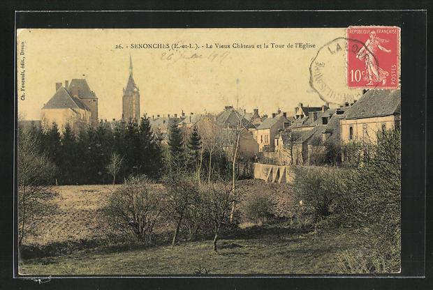 AK Senonches, Le Vieux Chateau et la Tour de l'Eglise
