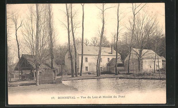 AK Bonneval, Vue du Loir et Moulin du Pont 0