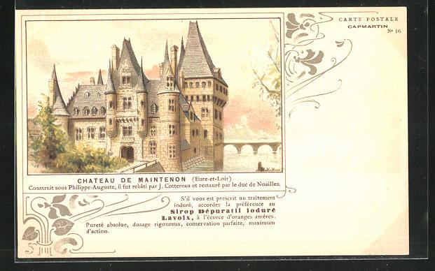 Lithographie Maintenon, Le Chateau, Blick zum Schloss 0