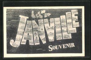 AK Janville, Stadtansichten im Schriftzug
