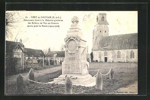 AK Vert-en-Drouais, Monument eleve a la Memoire glorieuse des Enfants de Vert en Drouais