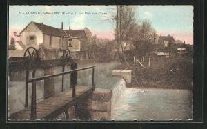 AK Courville-sur-Eure, Vue sur l`Eure