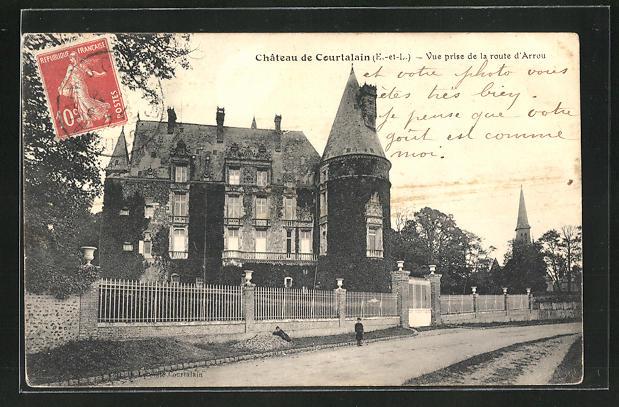 AK Courtalain, Chateau, Partie am Schloss 0