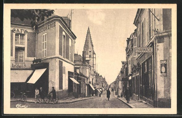 AK Chateaudun, Strassenpartie mit Geschäften 0