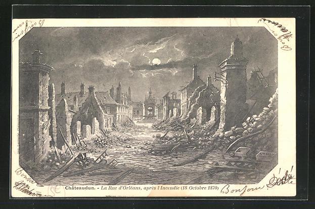AK Chateaudun, La Rue d'Orleans, apres I Incendie 18 Octobre 1870 0