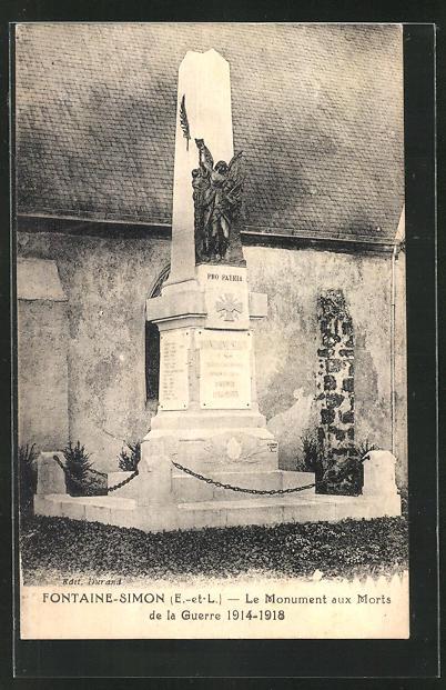 AK Fontaine-Simon, Le Monument aux Morts de la Guerre 1914-1918 0