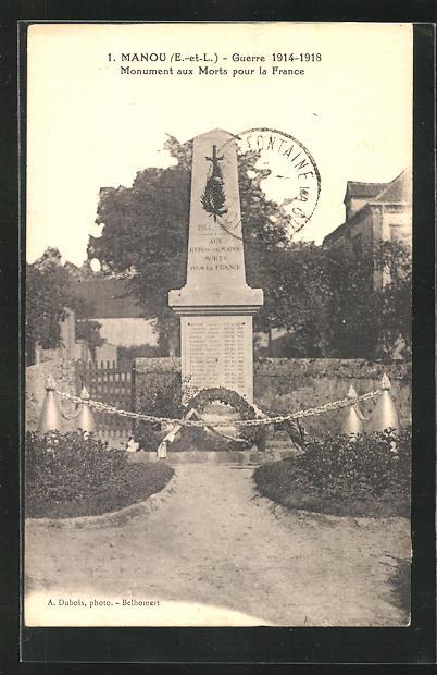 AK Manou, Monument aux Morts pour la France, Guerre 1914-1918 0