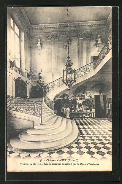 AK Anet, Chateau, Vestibule d`Entree et Grand Escalier, Innenansicht 0