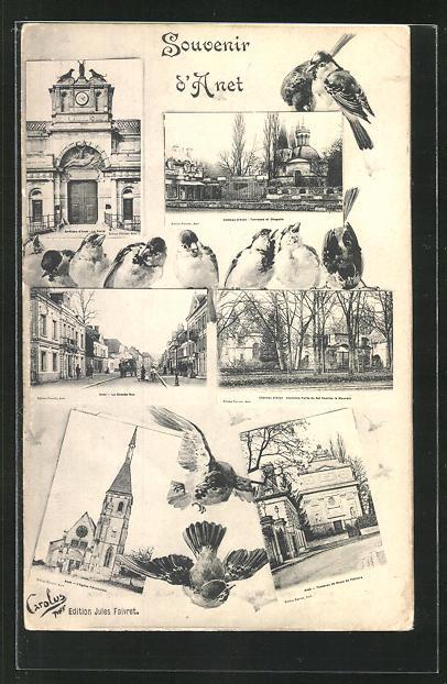 AK Anet, La Grande Rue, Chateau, Terasse et Chapelle et Ancienne Porte du Roi Charles le Mauvais 0