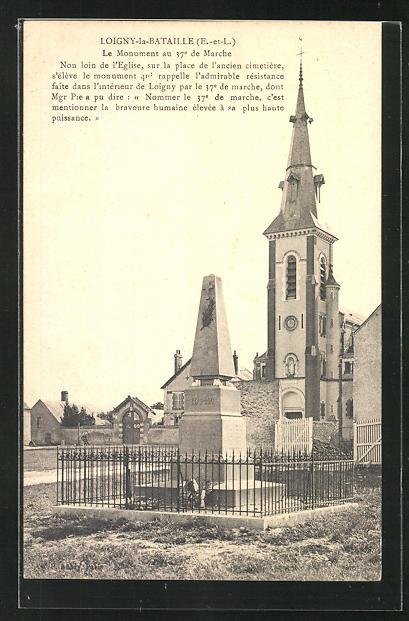 AK Loigny-la-Bataille, Le Monument au 37e de Marche