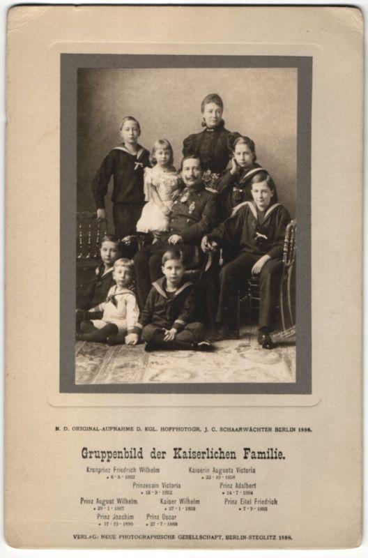 Fotografie Schaarwächter, Berlin, Kaiser Wilhelm II. mit Frau & Kindern