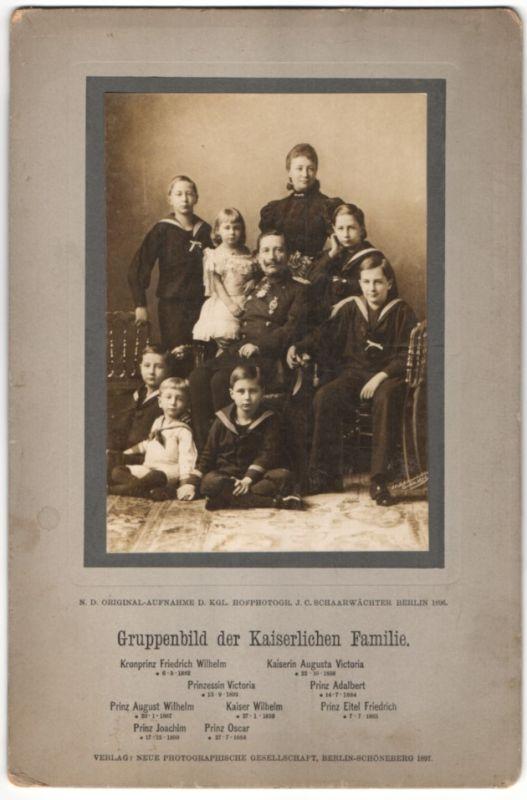 Fotografie Schaarwächter, Berlin, Adel Hohenzollern, Kaiser Wilhelm II. mit Frau & Familie 0