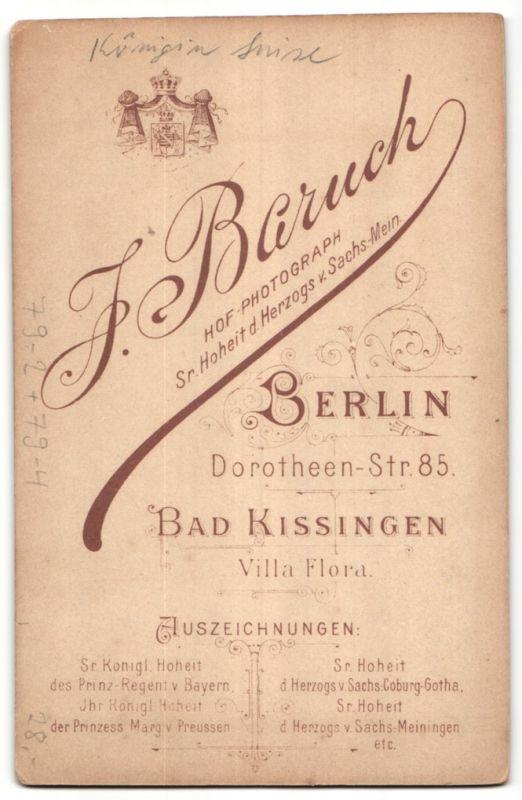 Fotografie J. Baruch, Berlin, Portrait Königin Luise von Preussen, Portrait mit Hermelin 1