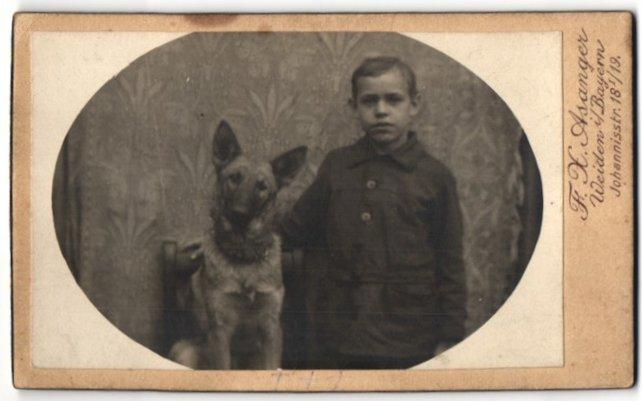 Fotografie F. X. Asanger, Weiden i/Bayern, Portrait Bub mit Schäferhund 0