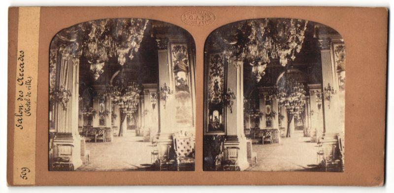 Stereo-Fotografie G. A. F., Paris, Ansicht Paris, Hotel de ville, Salon des Arcades, Halt gegen das Licht