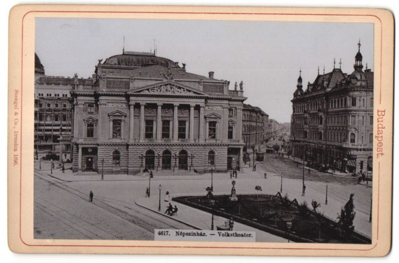 Fotografie Stengel & Co., Dresden, Ansicht Budapest, Volkstheater