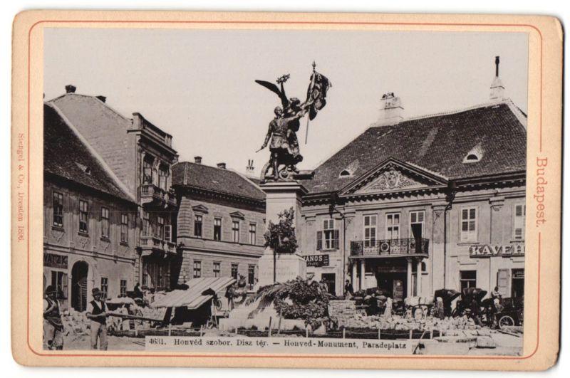 Fotografie Stengel & Co., Dresden, Ansicht Budapest, Honved-Monument, Paradeplatz