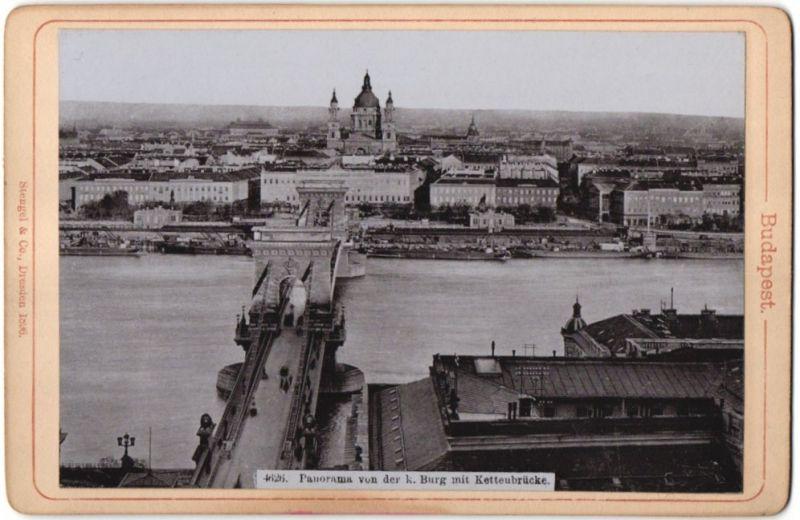 Fotografie Stengel & Co., Dresden, Ansicht Budapest, Panorama von der k. Burg mit Kettenbrücke