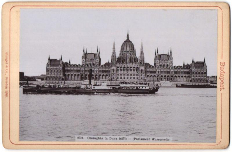 Fotografie Stengel & Co., Dresden, Ansicht Budapest, Parlament, Wasserseite