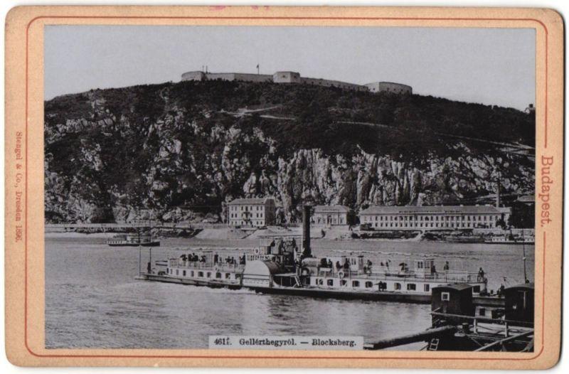 Fotografie Stengel & Co., Dresden, Ansicht Budapest, Blocksberg mit Raddampfer Hatty U