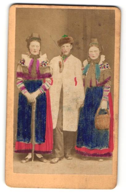 Fotografie Knabe und Mädchen in Tracht aus Bad Oeynhausen, handkoloriert