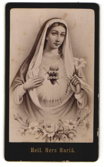 Fotografie Gemälde von unbek. Künstler, Heiliges Herz Maria