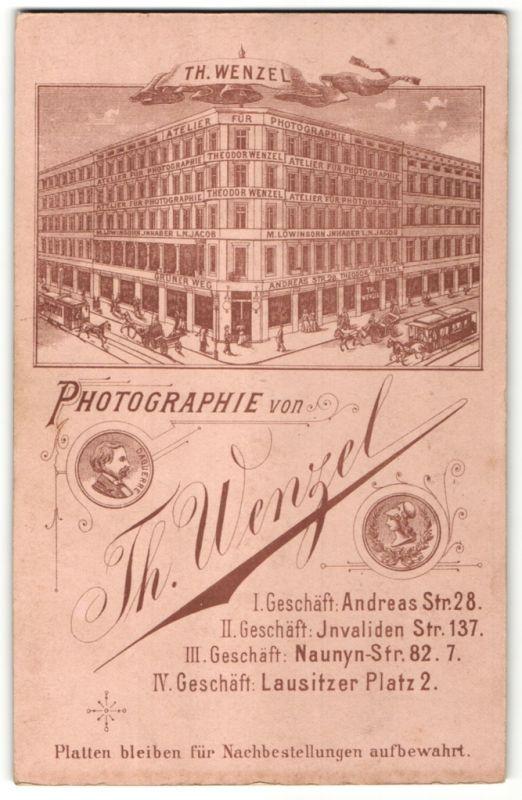 Fotografie Th. Wenzel, Berlin, rückseitige Ansicht Berlin, Atelier Andreas-Str. 28, vorderseitig Portrait Knabe 0