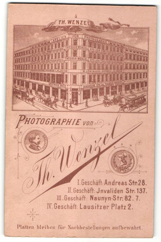 Fotografie Th. Wenzel, Berlin, rückseitige Ansicht Berlin, Atelier Andreas-Str. 28, vorderseitig Portrait Dame, Collage