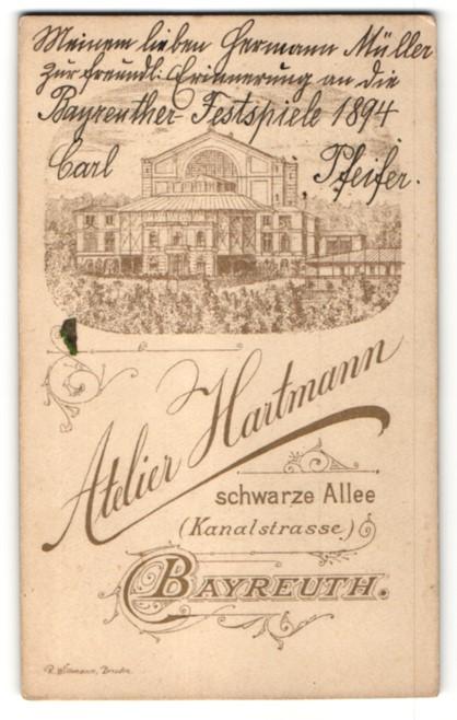 Fotografie Atelier Hartmann, Bayreuth, rückseitige Ansicht Bayreuth, Wagnertheater, vorderseitig Portrait 0