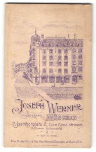 Fotografie Joseph Werner, München, rückseitige Ansicht München, Atelier Isarthorplatz 2 Ecke Kanalstrasse