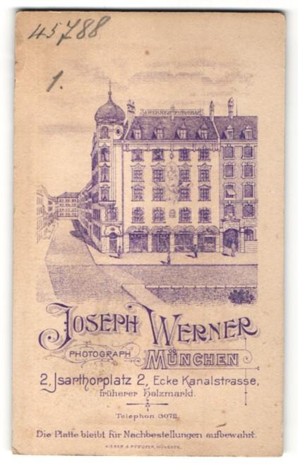 Fotografie Joseph Werner, München, rückseitige Ansicht München, Atelier Isarthorplatz 2, vorderseitig Portrait Dame 0