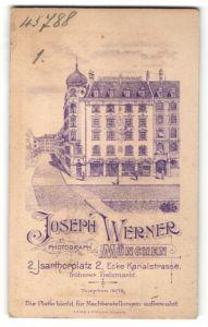 Fotografie Joseph Werner, München, rückseitige Ansicht München, Atelier Isarthorplatz 2, vorderseitig Portrait Dame