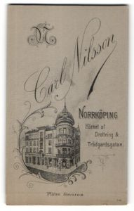 Fotografie Carl Nilsson, Norrköping, rückseitige Ansicht Norrköping, Atelier Trädgardsgatan, vorderseitig Portrait