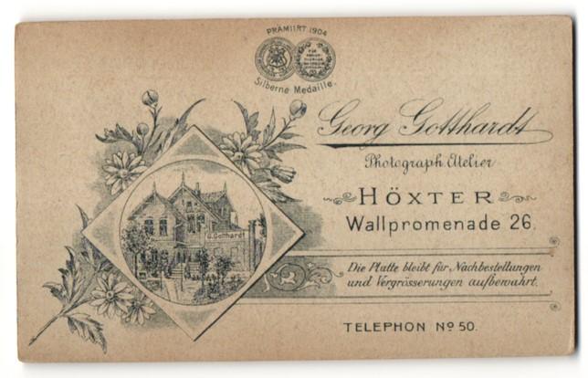 Fotografie Georg Gotthardt, Höxter, rücks. Ansicht Höxter, Atelier Wallpromenade 26, vorders. Profiolportrait Greis 0