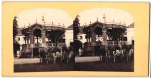 Stereo-Fotografie unbekannter Fotograf, Ansicht Wiesbaden, Pagode / Pavillon